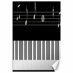 Piano Keyboard With Notes Vector Canvas 12  x 18