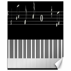 Piano Keyboard With Notes Vector Canvas 16  x 20