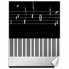 Piano Keyboard With Notes Vector Canvas 18  x 24