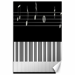 Piano Keyboard With Notes Vector Canvas 24  x 36