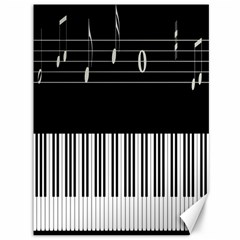 Piano Keyboard With Notes Vector Canvas 36  x 48