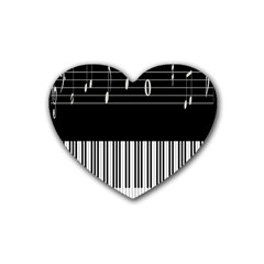 Piano Keyboard With Notes Vector Heart Coaster (4 pack)