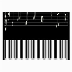 Piano Keyboard With Notes Vector Large Glasses Cloth (2-Side)