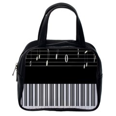 Piano Keyboard With Notes Vector Classic Handbags (One Side)