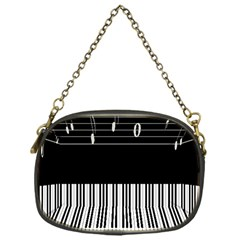Piano Keyboard With Notes Vector Chain Purses (One Side)