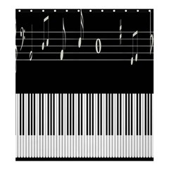 Piano Keyboard With Notes Vector Shower Curtain 66  x 72  (Large)