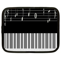 Piano Keyboard With Notes Vector Netbook Case (XL)