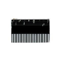Piano Keyboard With Notes Vector Cosmetic Bag (Small)
