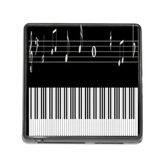Piano Keyboard With Notes Vector Memory Card Reader (Square)
