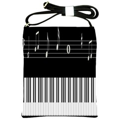 Piano Keyboard With Notes Vector Shoulder Sling Bags