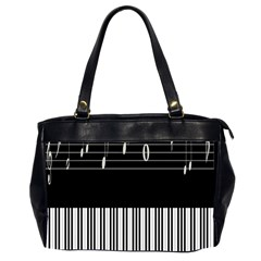 Piano Keyboard With Notes Vector Office Handbags (2 Sides)