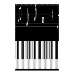 Piano Keyboard With Notes Vector Shower Curtain 48  x 72  (Small)