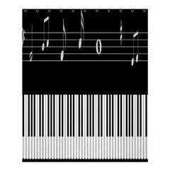Piano Keyboard With Notes Vector Shower Curtain 60  x 72  (Medium)
