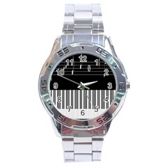 Piano Keyboard With Notes Vector Stainless Steel Analogue Watch