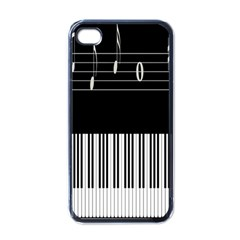 Piano Keyboard With Notes Vector Apple iPhone 4 Case (Black)