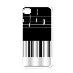 Piano Keyboard With Notes Vector Apple iPhone 4 Case (White)