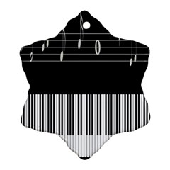 Piano Keyboard With Notes Vector Snowflake Ornament (Two Sides)