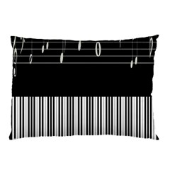 Piano Keyboard With Notes Vector Pillow Case (Two Sides)