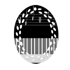 Piano Keyboard With Notes Vector Oval Filigree Ornament (Two Sides)