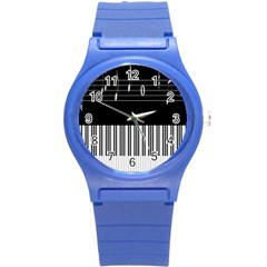Piano Keyboard With Notes Vector Round Plastic Sport Watch (s)
