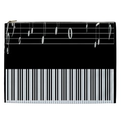 Piano Keyboard With Notes Vector Cosmetic Bag (xxl)