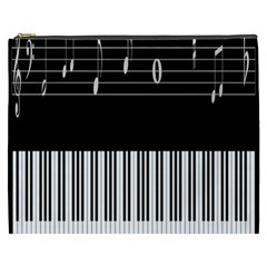 Piano Keyboard With Notes Vector Cosmetic Bag (xxxl)