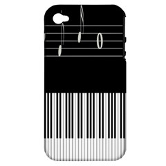 Piano Keyboard With Notes Vector Apple Iphone 4/4s Hardshell Case (pc+silicone)