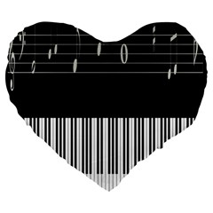 Piano Keyboard With Notes Vector Large 19  Premium Heart Shape Cushions