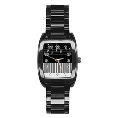 Piano Keyboard With Notes Vector Stainless Steel Barrel Watch