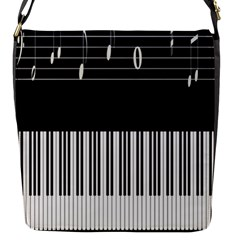 Piano Keyboard With Notes Vector Flap Messenger Bag (S)