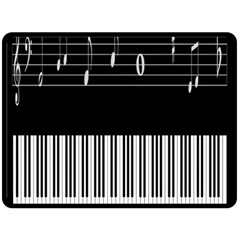 Piano Keyboard With Notes Vector Double Sided Fleece Blanket (Large)