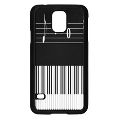 Piano Keyboard With Notes Vector Samsung Galaxy S5 Case (Black)