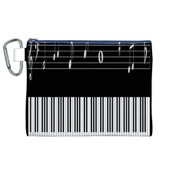 Piano Keyboard With Notes Vector Canvas Cosmetic Bag (xl)