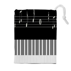 Piano Keyboard With Notes Vector Drawstring Pouches (Extra Large)