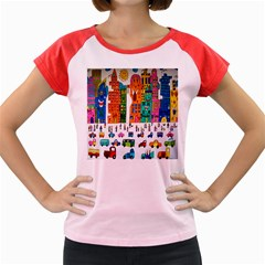 Painted Autos City Skyscrapers Women s Cap Sleeve T-Shirt
