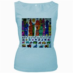 Painted Autos City Skyscrapers Women s Baby Blue Tank Top