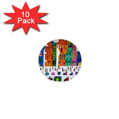 Painted Autos City Skyscrapers 1  Mini Buttons (10 pack)