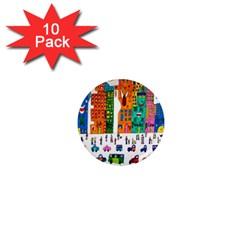 Painted Autos City Skyscrapers 1  Mini Magnet (10 Pack)