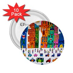 Painted Autos City Skyscrapers 2.25  Buttons (10 pack)