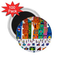 Painted Autos City Skyscrapers 2 25  Magnets (100 Pack)
