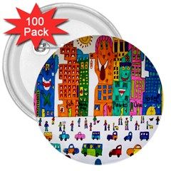Painted Autos City Skyscrapers 3  Buttons (100 pack)