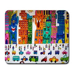 Painted Autos City Skyscrapers Large Mousepads