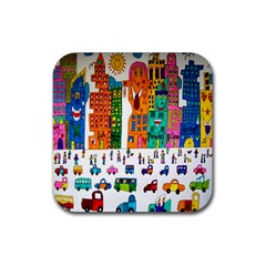 Painted Autos City Skyscrapers Rubber Coaster (square)