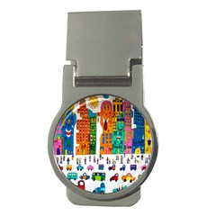 Painted Autos City Skyscrapers Money Clips (round)