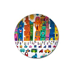 Painted Autos City Skyscrapers Magnet 3  (Round)