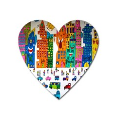 Painted Autos City Skyscrapers Heart Magnet