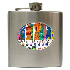 Painted Autos City Skyscrapers Hip Flask (6 oz)