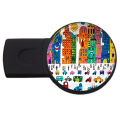 Painted Autos City Skyscrapers USB Flash Drive Round (1 GB)