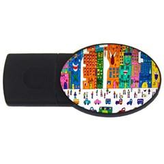 Painted Autos City Skyscrapers USB Flash Drive Oval (2 GB)