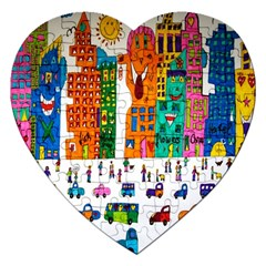 Painted Autos City Skyscrapers Jigsaw Puzzle (Heart)